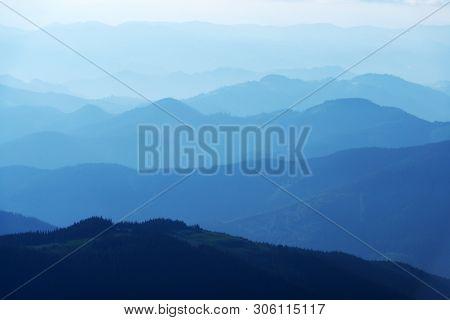 Beauty blue mountains range in Carpathians mountains, Ukraine. Landscape photography