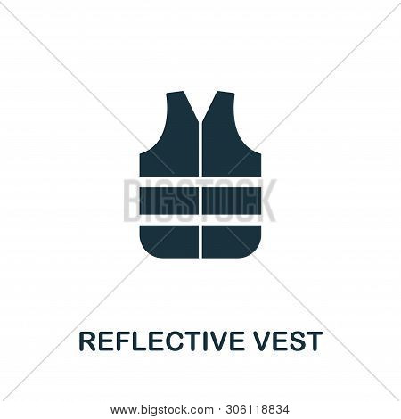 Reflective Vest Vector Icon Symbol. Creative Sign From Construction Tools Icons Collection. Filled F