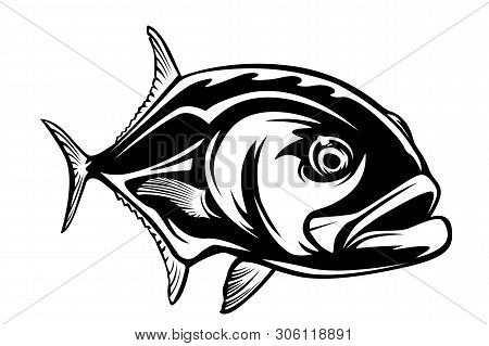 Fishing Emblem Of  Permit Isolated On White. Bone Fish Logo In Blue Colours. Ocean Theme Background.