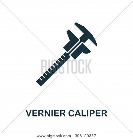 Vernier Caliper Vector Icon Symbol. Creative Sign From Construction Tools Icons Collection. Filled F