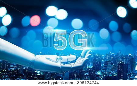5g Network Digital Hologram And Internet Of Things On City Background.5g Network Wireless Systems.ro