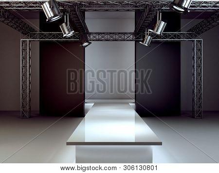 Empty Fashion Runway Podium Stage Interior Realistic Background 3d Render Illustration