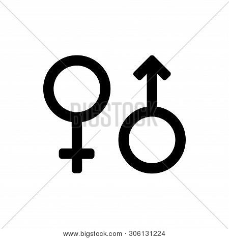 Female And Male Icon. Female And Male Icon Black Isolated With White Background. Female And Male Gen