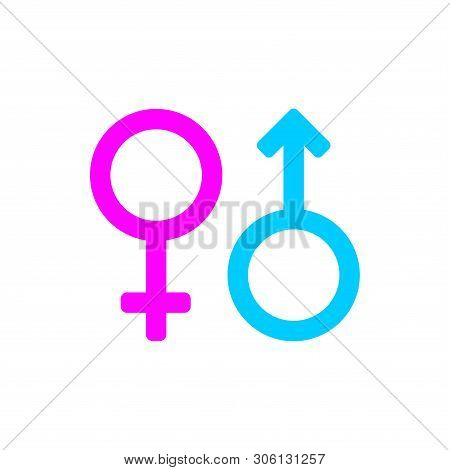 Male And Female Gender Symbols Icon Color Isolated On White Background From Body Parts Collection. M