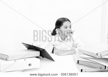 Get Rid Of Boring Task. Girl Bored Pupil Sit At Desk With Folders And Books. Issues Of Formal Educat
