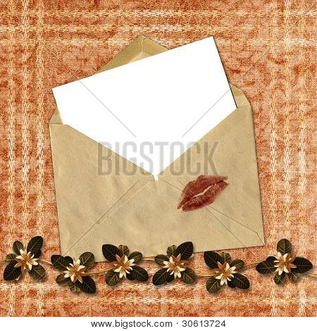 Love Letter With Bow On Paper Background.