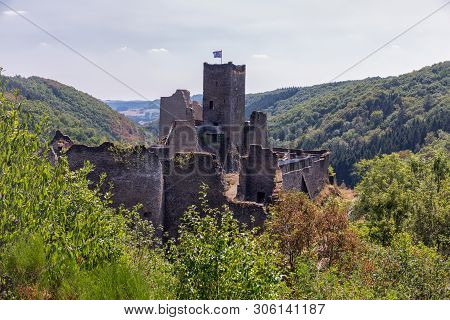 Brandenbourg, Luxembourg - August 22, 2018: Medieval Ruin Of Brandenbourg Castle At Hill In Ardennes