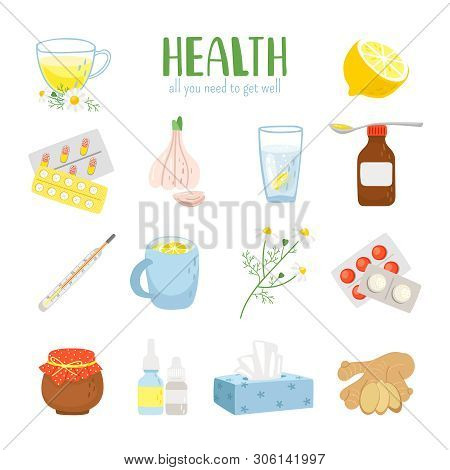 Cold Remedies. Winter Cold And Flu Health Remedy Set, Syrup With Lemon And Medicine Aspirine Pills,