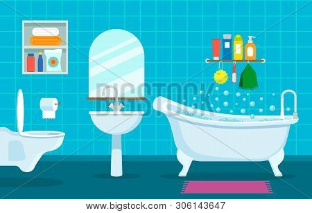 Modern Interior Of Bathroom And Toilet. Hanging Toilet, Sink And Bathroom With Shower Symbols Of Cle