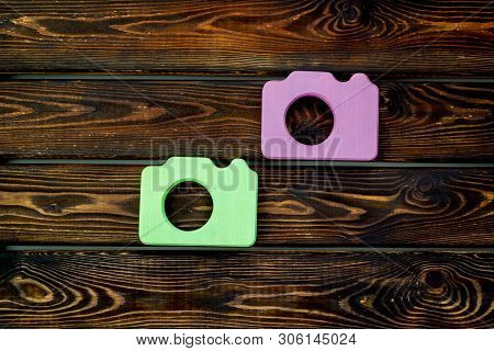 Blogger Concept With Photo Camera On Wooden Background Top View Mockup