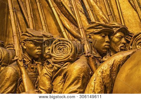 Washington Dc, United States - May 6, 2019 African American Soldiers, 54th Massachusetts First Black
