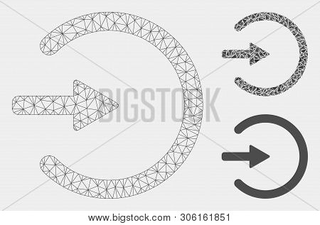 Mesh Entrance Model With Triangle Mosaic Icon. Wire Frame Triangular Mesh Of Entrance. Vector Mosaic