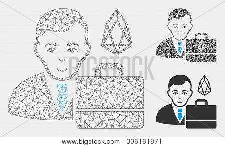 Mesh Eos Accounter Model With Triangle Mosaic Icon. Wire Frame Polygonal Network Of Eos Accounter. V