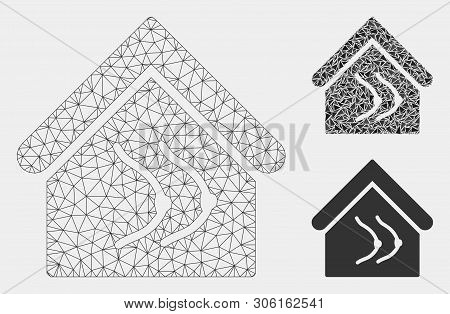 Mesh Erotics House Model With Triangle Mosaic Icon. Wire Carcass Polygonal Mesh Of Erotics House. Ve