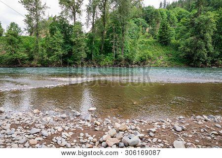 Mckenzie River Near Springfield Oregon During Spring