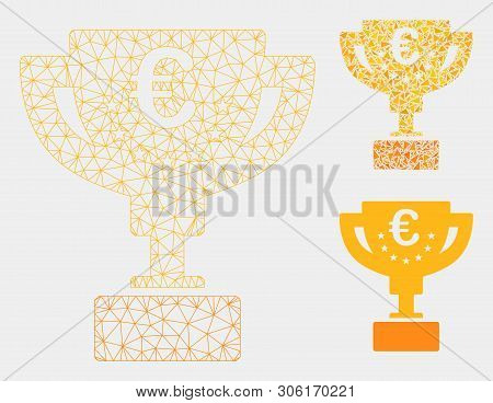 Mesh Euro Award Cup Model With Triangle Mosaic Icon. Wire Frame Polygonal Mesh Of Euro Award Cup. Ve
