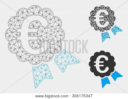 Mesh Euro Award Model With Triangle Mosaic Icon. Wire Carcass Polygonal Network Of Euro Award. Vecto