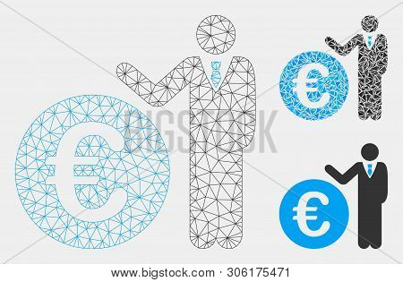 Mesh Euro Economist Model With Triangle Mosaic Icon. Wire Frame Triangular Mesh Of Euro Economist. V