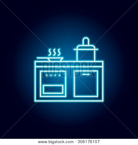 Kitchen, Cooker, Pan, Stewpot Outline Icon In Neon Style. Signs And Symbols Can Be Used For Web, Log