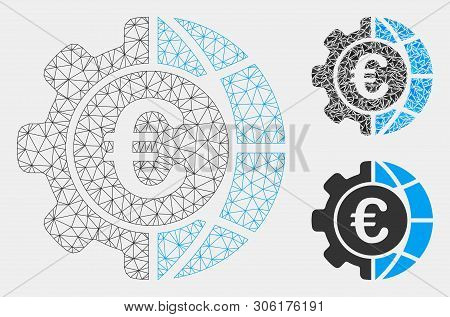 Mesh Euro Global Industry Model With Triangle Mosaic Icon. Wire Carcass Triangular Mesh Of Euro Glob