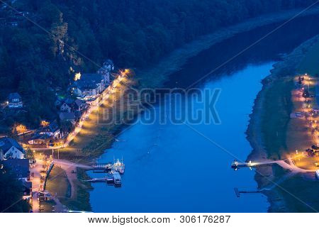 View From The Bastei To The Elbe Near Rathen In Saxony / Germany
