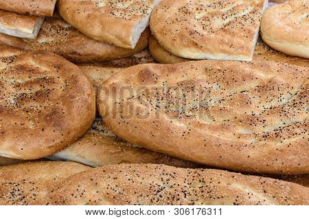 Various Flatbreads In Closeup On A Market