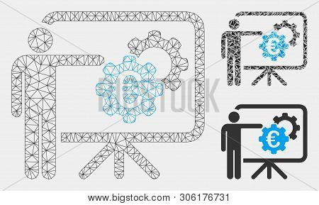Mesh Euro Industrial Project Presentation Model With Triangle Mosaic Icon. Wire Frame Triangular Net