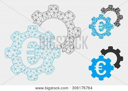Mesh Euro Industrial Model With Triangle Mosaic Icon. Wire Carcass Triangular Mesh Of Euro Industria