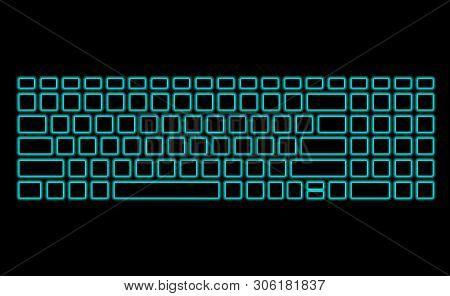 Computer Keyboard With Neon Backlight On Black Background. Modern Fluorescent Design For Banner. Vec