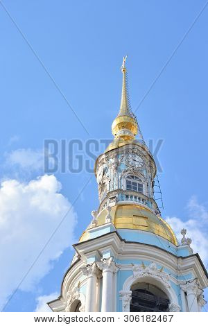 Belltower Of Naval Cathedral Of St. Nicholas And The Epiphany In St.petersburg At Sunny Day, Russia.