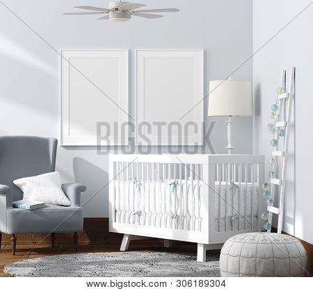 Mock Up Poster In Children Bedroom Interior Background, Scandinavian Style, 3d Illustration