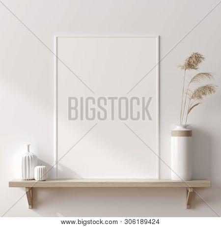 Mock Up Poster In Interior Background, Scandinavian Style, 3d Illustration