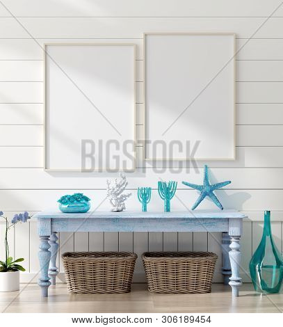 Mock Up Frame In Home Interior Background, Coastal Style Living Room With Marine Decor, 3d Illustrat
