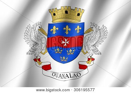 Waving National Flag Of Saint Barthelemy Island. Patriotic Symbol In Official Country Colors. Illust