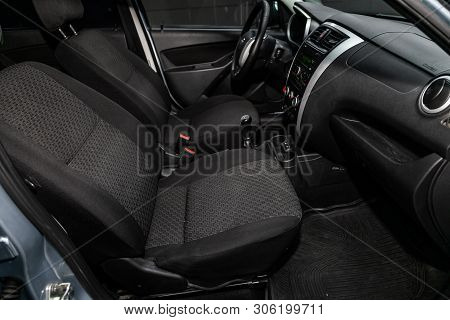 Novosibirsk, Russia - June 11, 2019:  Datsun On-do, Close-up Of The Dashboard, Adjustment Of The Blo