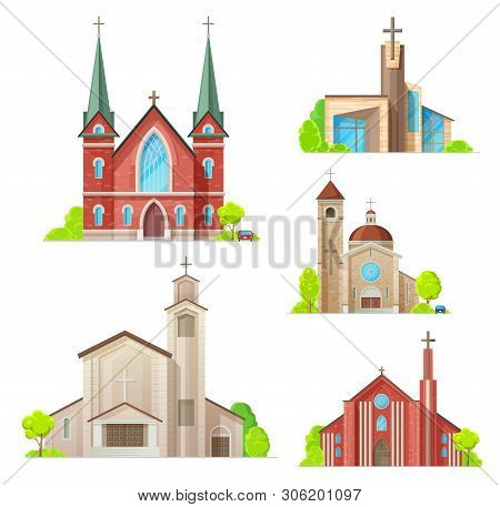 Church Buildings, Cathedral, Chapels And Monastery Facades Icons. Vector Isolated Medieval Cathedral