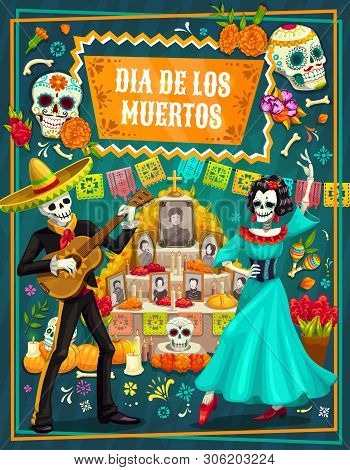 Day Of The Dead Vector Greeting Card With Mexican Sugar Skulls And Skeletons Of Mariachi And Catrina