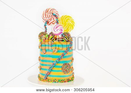 On-trend Candyland Fantasy Cake For Birthdays Or Any Festive Occasion, Isolated Against A White Back