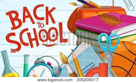 Back To School Education Supplies, Pencils And Classes Books On Notebook Background. Vector Back To