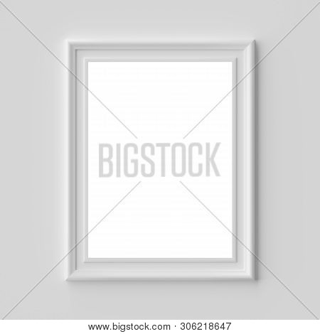 White Blank Picture Or Photo Frame On White Wall Vertical, With Shadows With Copy-space, White Color