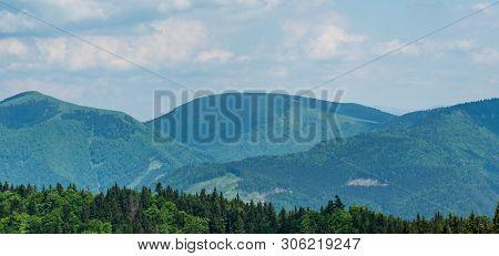 Ploska And Borisov Hill Fom Ostra Hill Above Blatnicka And Gaderska Dolina In Velka Fatra Mountains