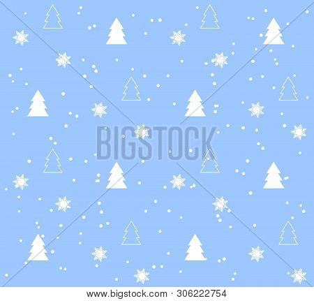 Seamless Pattern With Christmas Trees. White Pattern On Blue Background. Festive Texture. Holiday Xm
