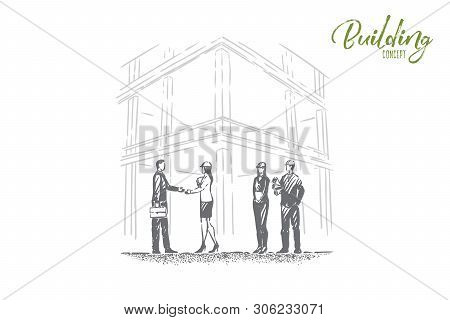 Safety Check Comission, Successful Examination, Foreman, Architect And Inspector In Hard Hats Shake