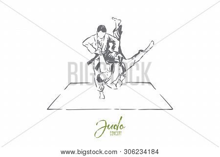 Judo Sparring, Young Men In Kimono With Belts, Faceless Athletes, Combat Practice, Self Defence Exer