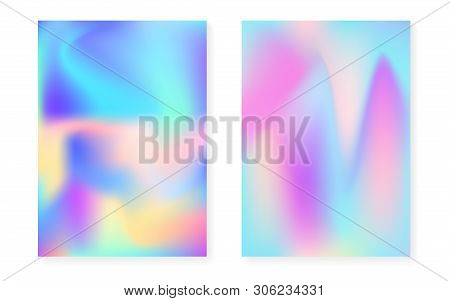 poster of Holographic cover set with hologram gradient background. 90s, 80s retro style. Pearlescent graphic template for brochure, banner, wallpaper, mobile screen. Vibrant minimal holographic cover.