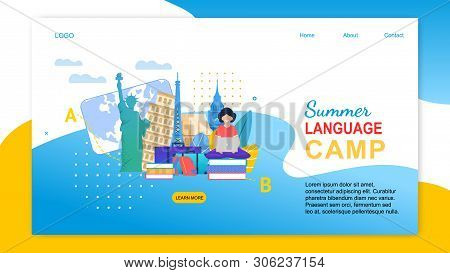 Summer Language Camp. Cartoon Girl With Notebook Learn Languages Abroad. Study English French Italia
