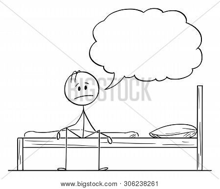 Cartoon Stick Figure Drawing Conceptual Illustration Of Tired, Frustrated, Sad Or Depressed Man Sitt
