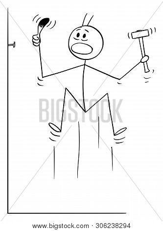Cartoon Stick Figure Drawing Conceptual Illustration Of Man Who Hit Is Finger Or Thumb While Hammeri