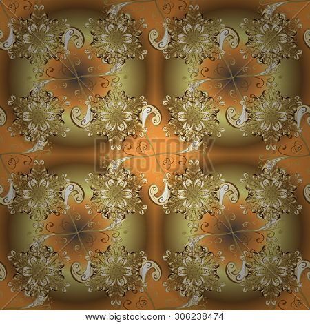 Seamless Pattern Print. Doodles Brown And Yellow On Colors. Fashionable Fabric Pattern. Design Wrapp