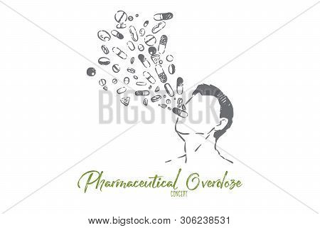 Medications Overdose, Pharmaceutical Industry Danger, Medicines And Drugs Addiction Metaphor